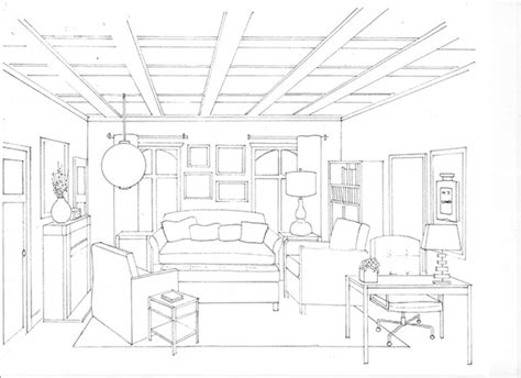 one point perspective living room portfolio on behance