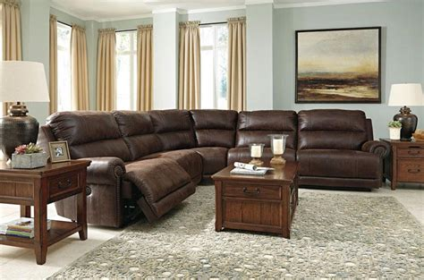 sectional living room set bari 5pcs large brown faux leather recliner sofa couch