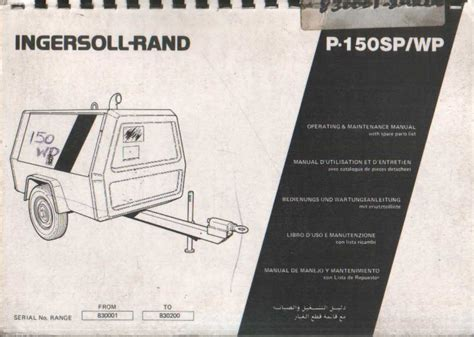 ingersoll rand compressor p150 sp wp operators maintenance manual with parts list