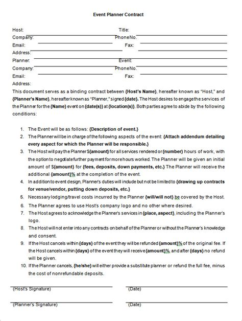 event agreement template event contract template 14 free word excel pdf