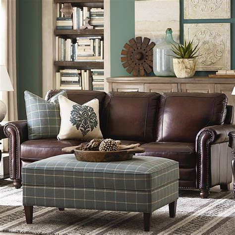 Living Room Leather Furniture Hamilton Sofa Leather Living Room Bassett Furniture
