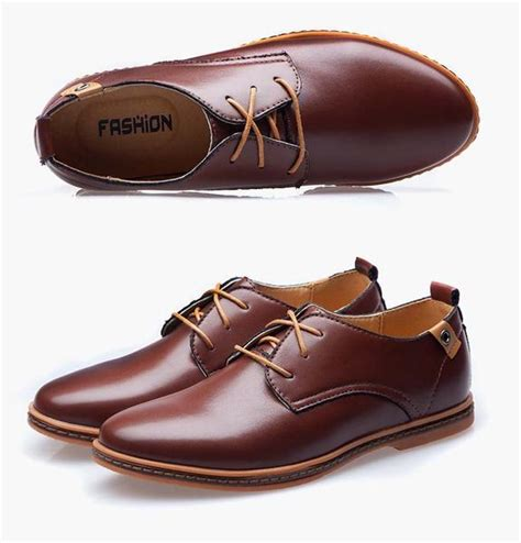 shoes leather casual lace up brown black shoes
