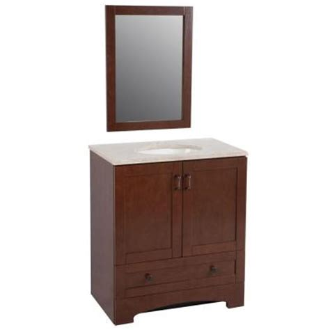 glacier bay bathroom vanities glacier bay shaker 30 in vanity in auburn with effects vanity top in oasis and mirror