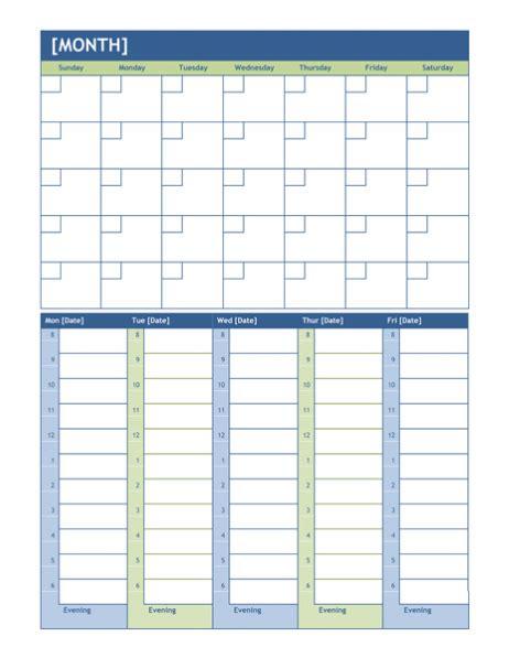 template word weekly calendar template