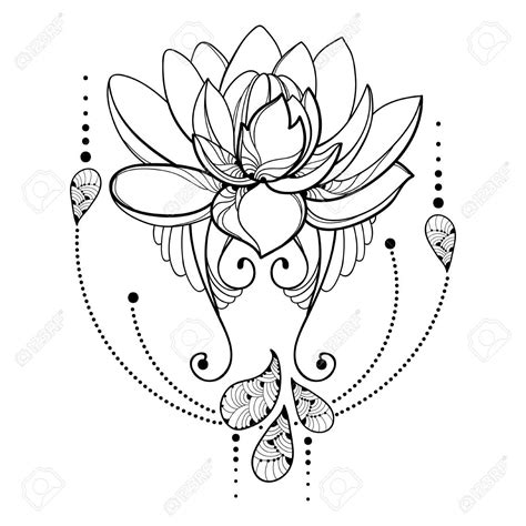 small decorative drawings lotus flower drawing outline at getdrawings free for