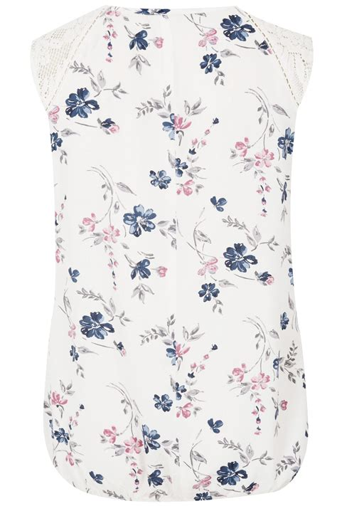 Shoulder Floral Print Top ivory floral print sleeveless top with lace