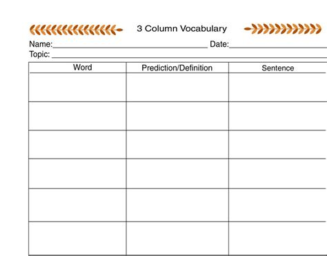 3 column word template in order to learn in order to teach