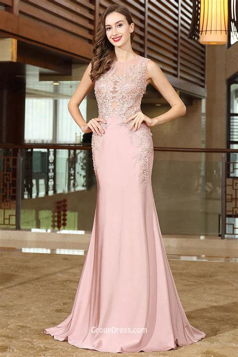 prom dresses nottingham formal dresses rose gold illusion lace appliqued sleeveless sheer long