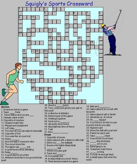 printable crossword puzzle sports sports crossword activities trivia quizzes crosswords