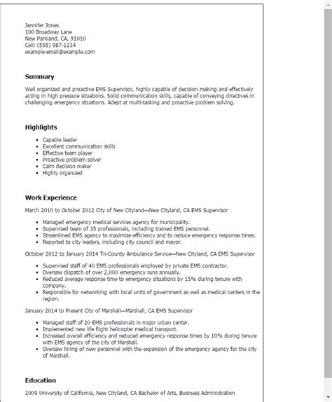 Ems Director Cover Letter by 1 Ems Supervisor Resume Templates Try Them Now Myperfectresume
