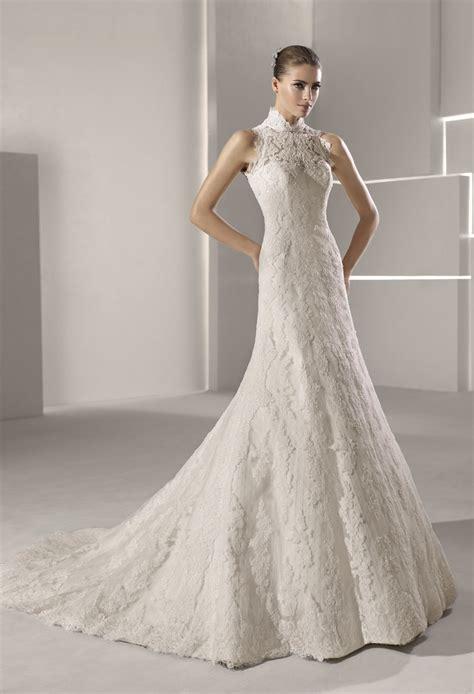 High neck lace mermaid wedding dress   OneWed.com