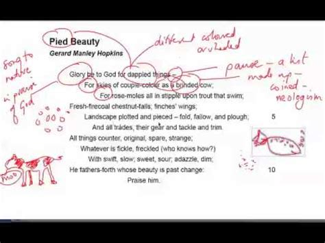 carrion comfort analysis pied beauty by gerald manley hopkins youtube