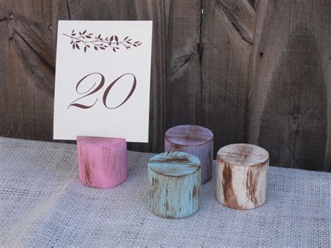 shabby chic wood table number holders you choose color