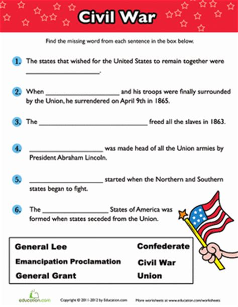 Civil War Worksheets 5th Grade Printable | civil war fill in the blank worksheet education com
