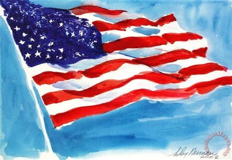 leroy neiman american flag painting american flag print for sale