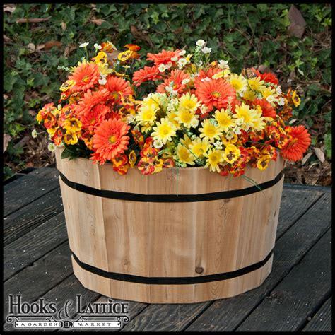 Cedar Barrel Planter by Half Wine Barrel Planters Cedar Barrel Planters Whiskey
