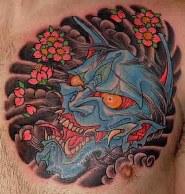 blue hannya mask tattoo 62 japanese hannya mask tattoos