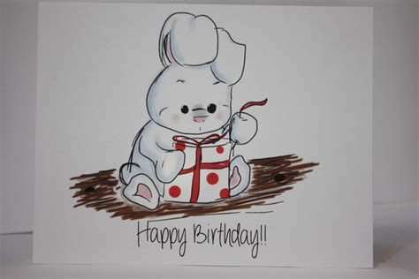card draw rabbit birthday card bunny rabbit birthdaycard by