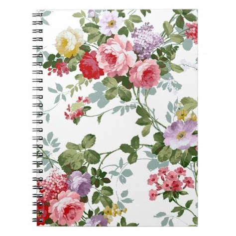 rose pattern notebook vintage elegant girly pink red roses pattern notebook