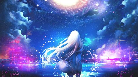 Starry Night Sky Girl Anime | anime white hair anime girls night sky stars colorful