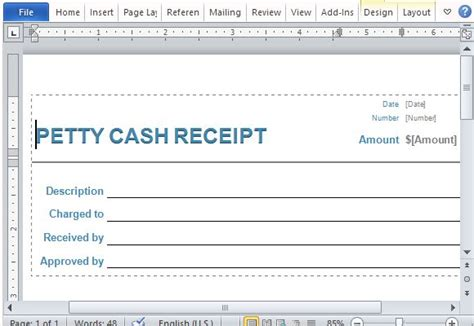 petty receipt template word petty receipt form for word