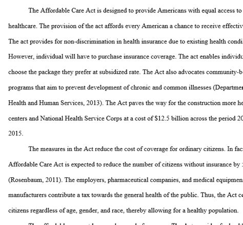 Affordable Care Act Essay by What Are The Most Important Elements Of The Affordable Care Act In Relation To Community And