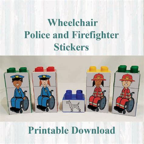 printable lego stickers wheelchair firefighter and police stickers fridge magnets