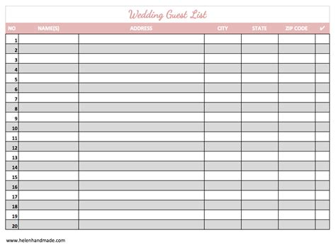 printable wedding guest list template 7 free guest list templates excel pdf formats