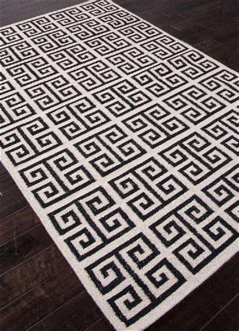 black and white key rug key flat wool rug black white bungalow melina
