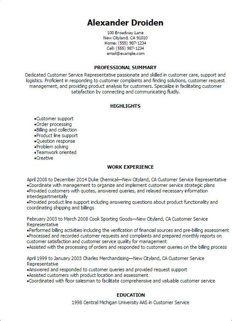 8 Customer Service Summary Of Qualifications Precis Format