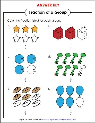 Worksheets Fractions Of Groups by Color In The Number Of Objects To Correctly Represent The
