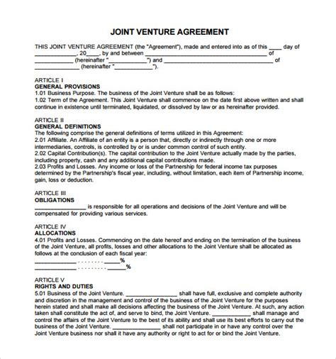 template of joint venture agreement 11 sle joint venture agreements sle templates
