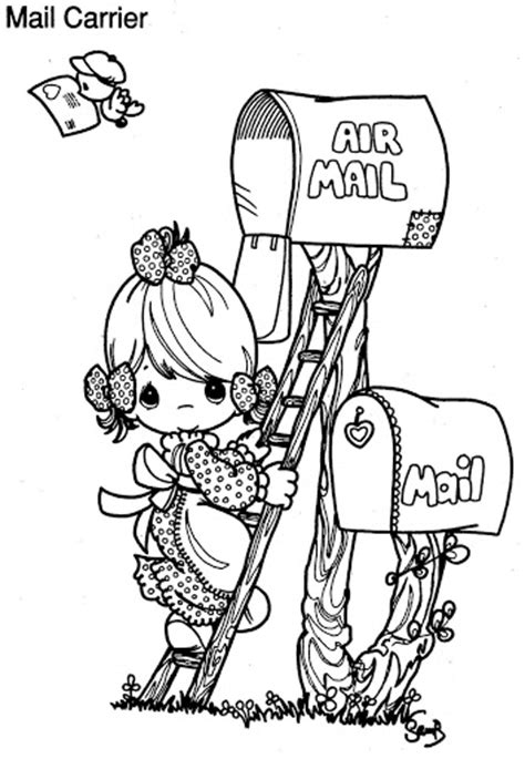 mail carrier precious moments coloring pages free world