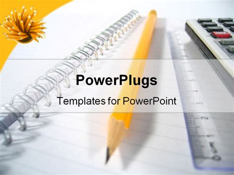 writing powerpoint template a writing pad with a ruler a pencil and a calculator