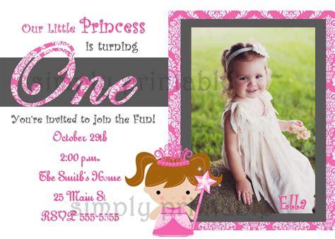 Invitation Letter For 1st Birthday Birthday Invitation For Princess