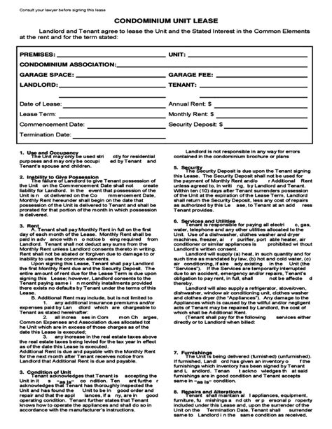 Condominium Lease Agreement Template Free Download Condo Rental Lease Template