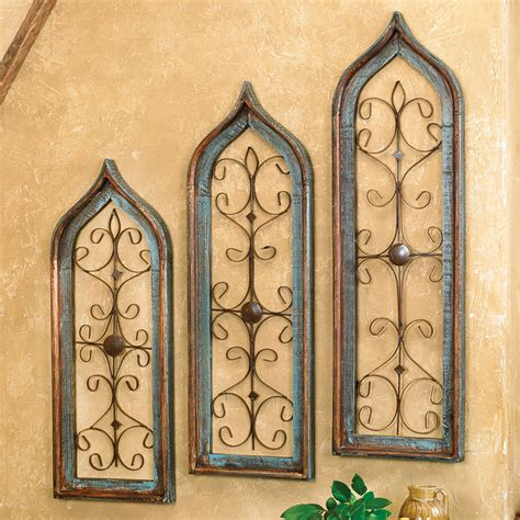 Wall Hangings - distressed turquoise window wall hangings set of 3
