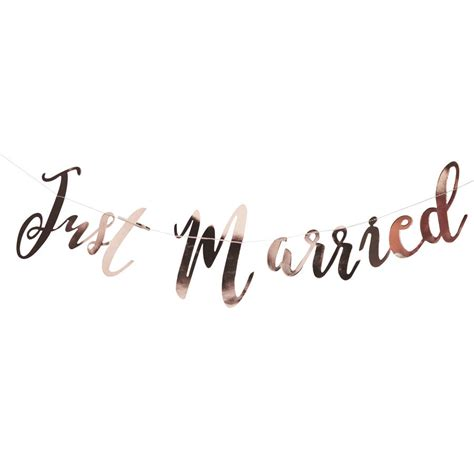 Wedding Gold Fonts by Gold Script Font Just Married Wedding Bunting By