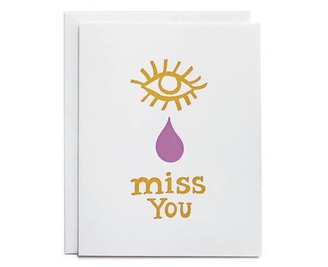 miss you letterpress card fine day press