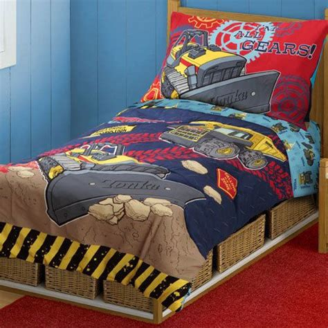 truck bedding set tonka truck boys 4pc toddler crib bedding set toddler