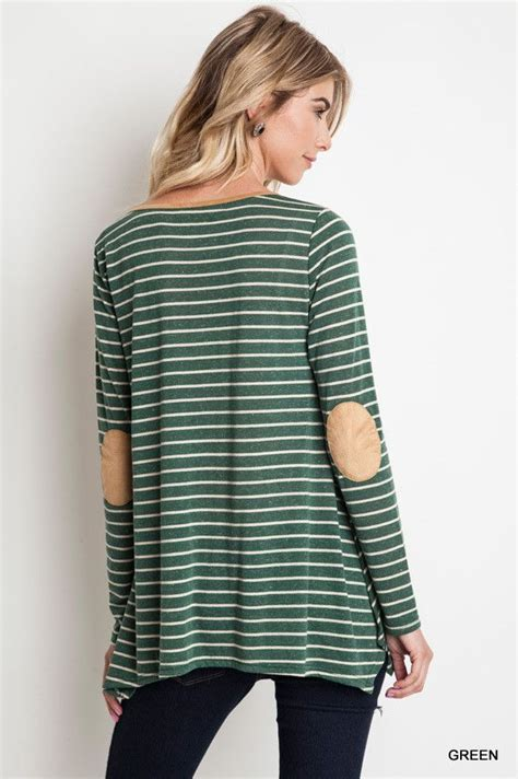 Longsleeve With Patch sleeve stripe top with patch