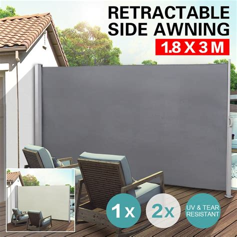 retractable awnings ebay 1 8x3m retractable side awning shade home patio garden