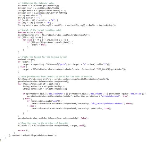 pattern recognition java source code developping an archive action for alfresco share 1 of 2