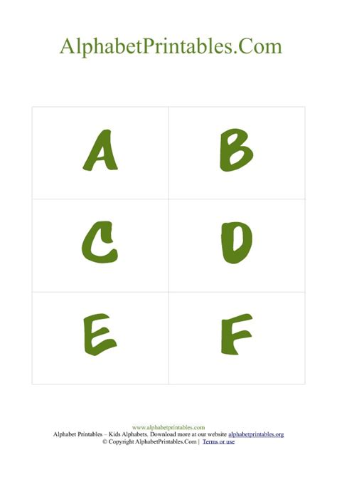 alphabet letters flash cards templates alphabet flash cards pdf template uppercase green