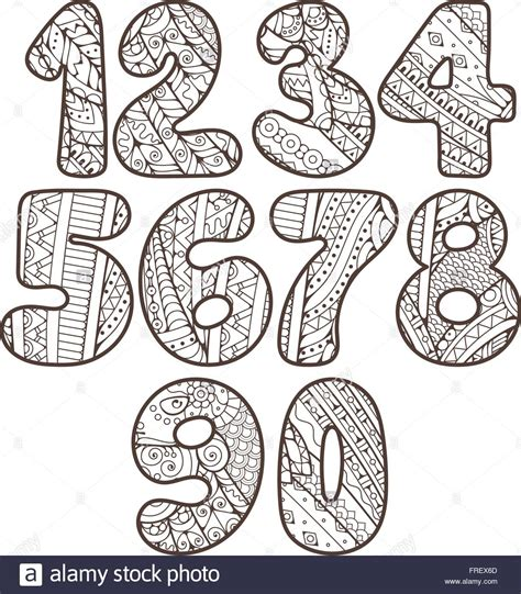 doodle numbers zentangle numbers set collection of doodle numbers with
