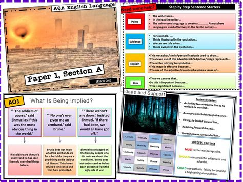 section a english aqa gcse english language paper 1 section a lessons