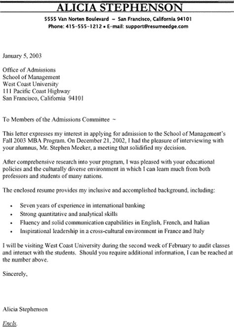 Mba Support Letter From Employer by Mba Admission Cover Letter Sle Cover Letter Templates