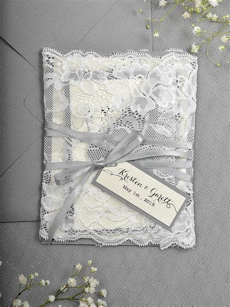 Wedding Invitations Glitter by Silver Glitter Wedding Invitation Lace Grey Invitation
