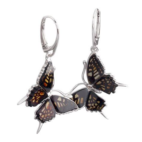 Earring Butterfly engraved baltic butterfly earrings sterling silver