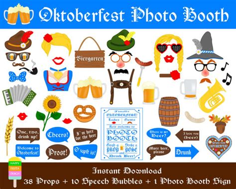 free printable oktoberfest photo booth props items similar to printable oktoberfest photo booth props